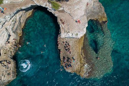 Aerial view of Rocky beach near Pula, Croatia