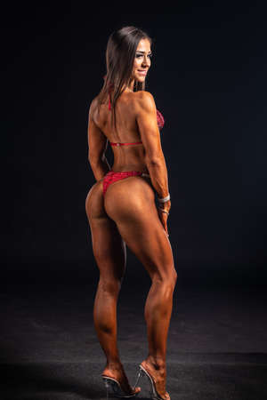 2019 in Budapest, hungary, HUNGARY - OCT 13: Fitness model studio photo after Fitparade 2019 IFBB PRO Qualifier bodybuilding championship on Oct 13, Budapest