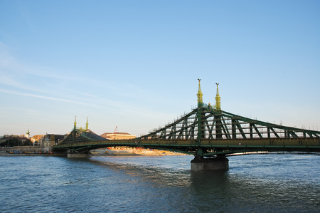 Liberty bridge under reconstruction, Budapest, Hungary photo