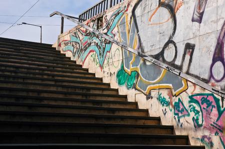 Colorful graffiti streetart urban underpass walkway stairs