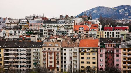 Panoramic overview over the Buda-side of Budapest, colorful buildings