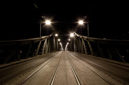 The empty Liberty Bridge at night, Budapest, Hungary Stock Photo