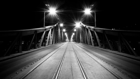 The empty Liberty Bridge at night, Budapest, Hungary, black and white