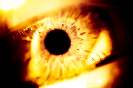 human eye close up: Illustration of the red dragon burning eyes