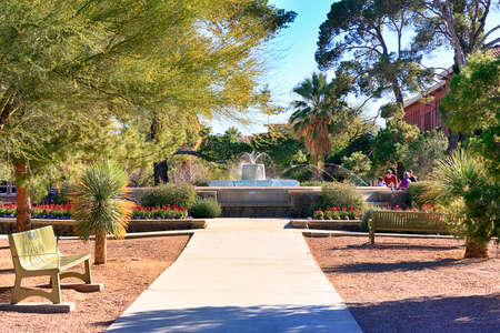 The fountain and garden outside the Main Faculty building on the University of Arizona Campus in Tucson AZ