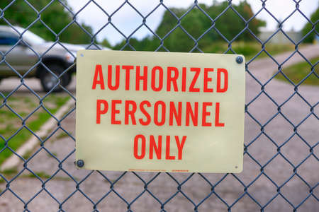 Authorized Personnel Only sign outside the Mt. Lemmon Skycenter in Arizona Stock Photo