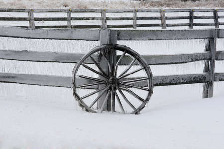 Wagon Wheel in Snow and Ice photo