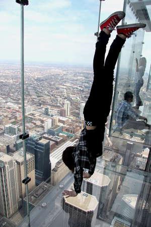 willis: Handstand Over Chicago Stock Photo