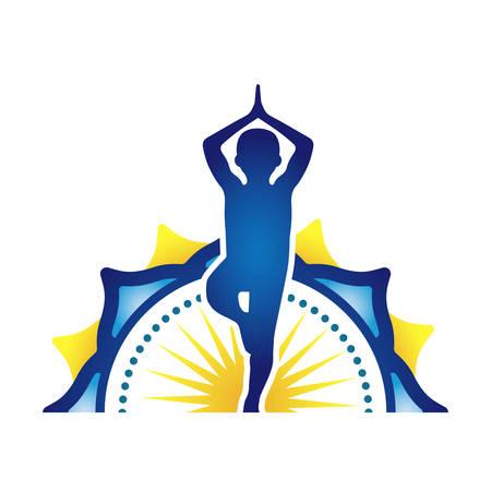 Childrens Yoga Logo Design Isolated Ilustracja