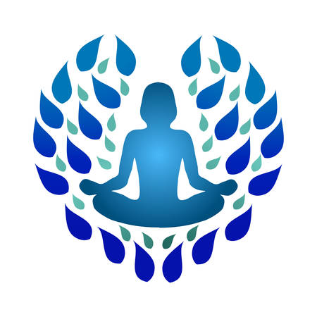 Yoga Logo with Hearth Shape and Woman Yoga Pose