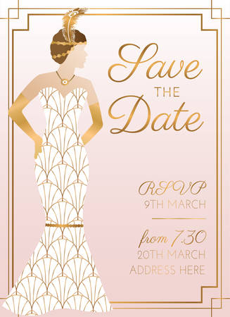 Pink Save the Date Wedding Invitation Design with Woman in Bridal Wedding Dress