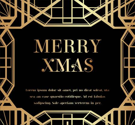 Merry Christmas or Xmas Art Deco Invitation Design Vetores