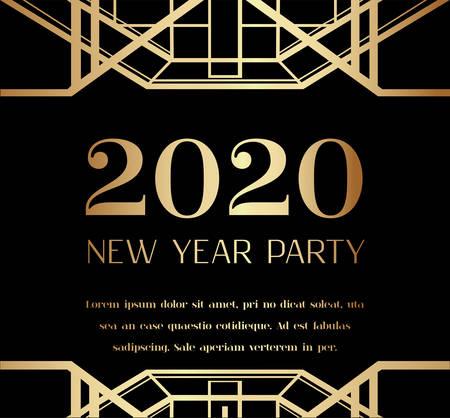 2020 New Year Party Art Deco Invitation Design