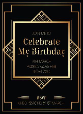 Geometrischer Gatsby Art Deco Stil Geburtstagseinladung Design Vektorgrafik
