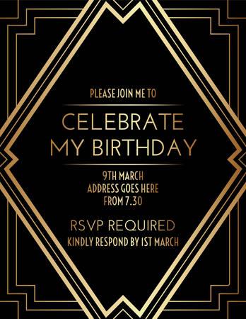 Elegant Geometric Gatsby Art Deco Invitation Design Vetores