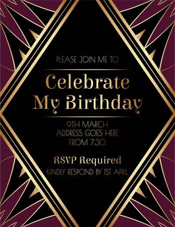 Gatsby Elegant Art Deco Invitation Design 矢量图像