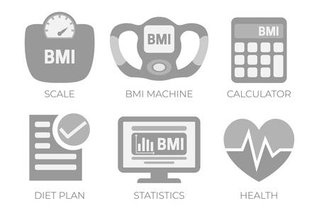 BMI Body Mass Index Calculation Gray Illustration Icon Set with BMI Machine, Scale Measuring and Health, BMI Calculator Icons. Vecteurs