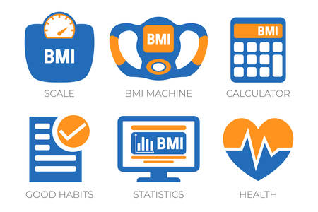 BMI Weight Body Mass Index Icons Vectores