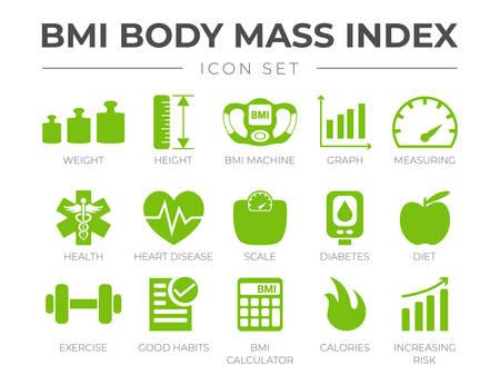 BMI-Body-Mass-Index-Icon-Set. Gewicht, Höhe, BMI-Maschine, Grafik, Messung, Gesundheit, Herzkrankheiten, Waage, Diabetes, Ernährung, Bewegung, Gewohnheiten, BMI-Rechner, Kalorien, Risikosymbole.