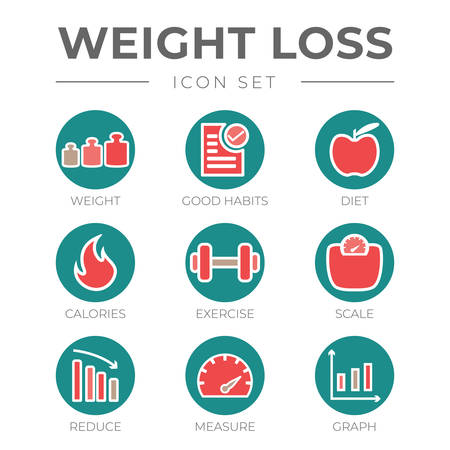 Weight Loss Round Circle Color Icon Set