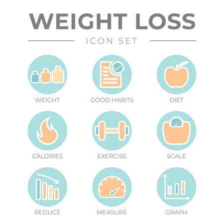 Weight Loss Pastel Outline Icon Set Vectores