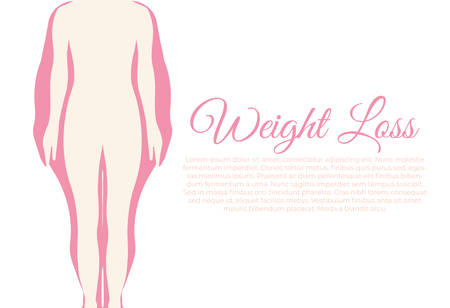 Weight Loss Feminine Pink Infographic Vector Illustration with Woman Silhouette Illustration