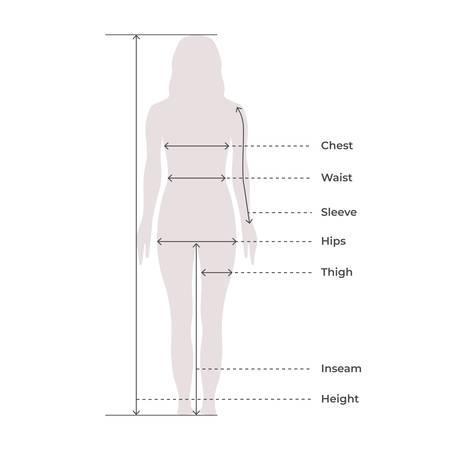 Proportions de mesure du corps féminin femme pour la conception de vêtements et tableau de couture pour l'illustration vectorielle de mode