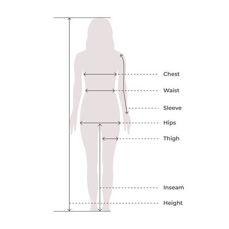 Woman Female Body Measurement Proportions for Clothing Design and Sewing Chart for Fashion Vector illustration