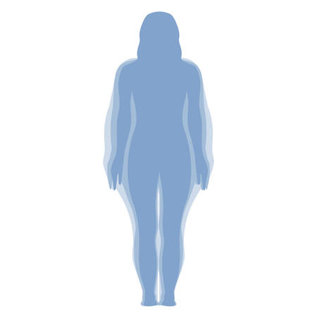 Woman Weight Loss Silhouette Isolated