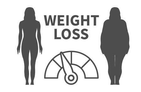 Weight Loss Infographic Vector Illustration with Woman Silhouette