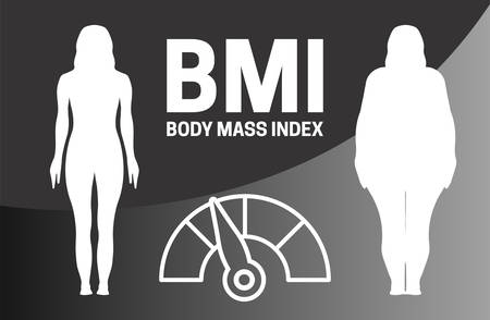 BMI Infographic Vector Illustration with Woman Silhouette