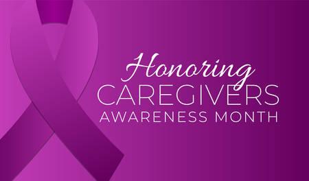 Purple Honoring Caregivers Awareness Month Background Illustration Vettoriali