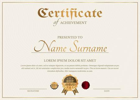 Modèle de diplôme de certificat dans un style classique simple