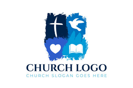 Christian Church Logo Design with Cross, Dove, Hearth and Bible Çizim
