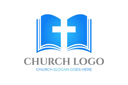 Church Logo Design with Bible and Cross