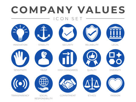 Business Company Values Round Icon Set. Innovation, Stability, Security, Reliability, Legal, Sensitivity, Trust, High Standard, Quality, Diversity, Transparency, Social Responsibility, Commitment, Ethics, Passion Icons.