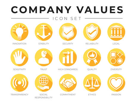 Flat Company Core Values icon Set. Innovation, Stability, Security, Reliability, Legal, Sensitivity, Trust, High Standard, Quality, Diversity, Transparency, Social Responsibility, Commitment, Ethics, Passion Icons.