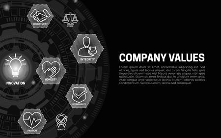 Company Values Banner Black Background with Icons