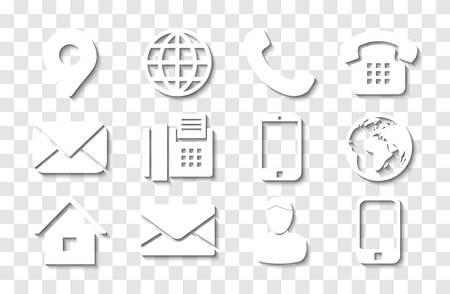 Conjunto de iconos de información de contacto blanco con sombras para los iconos de pin de ubicación, teléfono, fax, teléfono móvil, persona y correo electrónico.