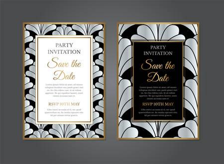 Silver Art Deco Gatsby Invitation Design Vectores