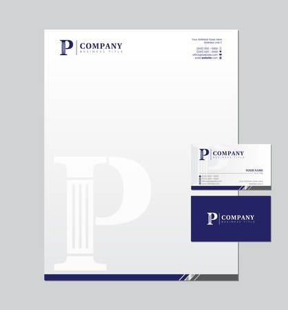 P Letter and Business Card, Letterhead Stationery Design for Lawyer or Attorney