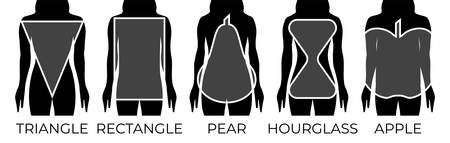 Woman Body Shapes Triangle, Rectangle, Apple, Pear and Hourglass Black and White Illustration Illusztráció