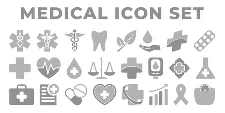 Gray Medical and Health Icon Set with Medicine Icons