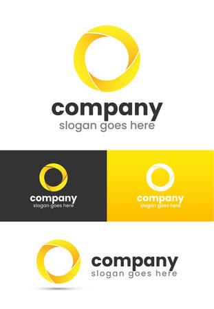 Yellow Circle O Logo Design 3D