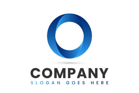 Blue Circle O Logo Design 3D