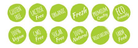 Gluten, Lactose, GMO, Sugar Free, Organic, Fresh, Premium Quality, Eco Friendly, 100% Vegan, Natural, Vegetarian, Farm Food Icons Label Set Ilustração