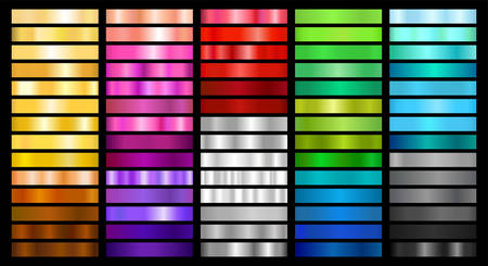 Metal and Color Gradient Collection of Swatches 版權商用圖片 - 147588345