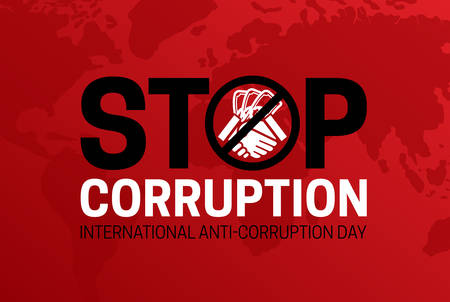 Stop Corruption and International Anti-Corruption Day Red Banner Illustration