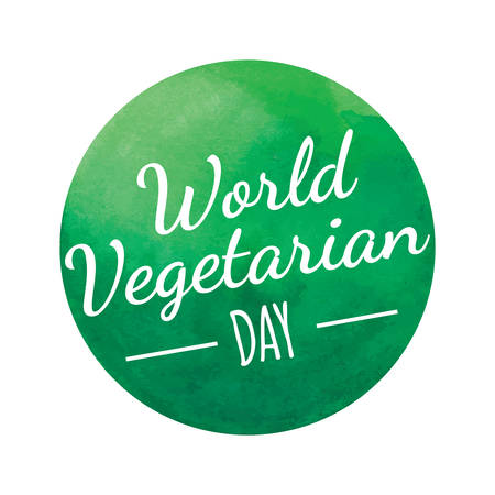 World Vegetarian Day Green Round Badge Illustration