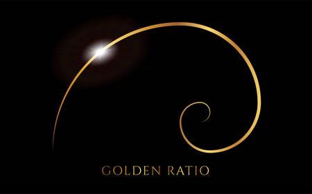 Fibonacci or Golden Ratio Black and Gold Spiral Background Illustration Векторная Иллюстрация